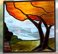 Fall Tree Landscape Stained Glass Panel by BerlinGlass on Etsy