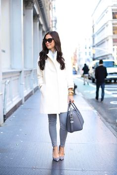Ivory + Grey in Soho - Alice + Olivia coat c/o // Equipment sweater Frame Denim jeans //Jean-Michel Cazabat heels Uniqlo scarf // Givenchy bag Wednesday, December 10, 2014