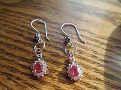 Vintage Designer 1.82ctw Ruby and White Sapphire 925 Sterling Silver Drop/Dangle Earrings, Flowered Ear Wires, 3.8 Grams