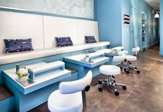 Spa pedicure stations, custom millwork and upholstery.  Beauparlant Design