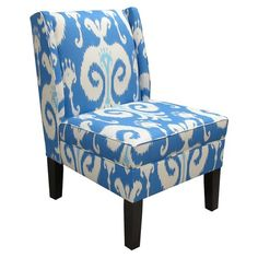 I pinned this Ikat Wingback Chair in Blue from the Designing with Danika Herrick event at Joss & Main!