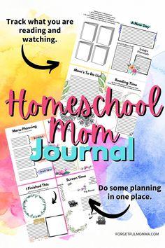 This Homeschool Mom Journal is to help homeschool moms make self-care a priority. Homeschool Curriculum, Homeschooling, Book Organization, Business Names, Classroom Management, Encouragement, Stress, Journal, How To Plan