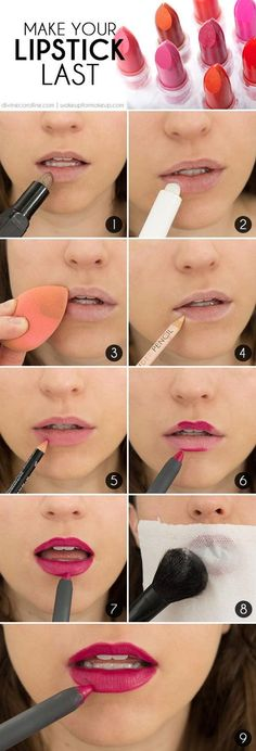 How To Make Your Lipstick Last. For more beauty tips and tricks visit www.pampadour.com! #beauty #tips #tricks #howto #tutorial #makeup #lipstick #lips