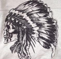 SKULL HAIR DRESS Indian Chief Tattoo, Indian Skull Tattoos, Arabic Tattoos, Scary Tattoos, Badass Tattoos, Tattoos For Guys, Native American Tattoos, Native Tattoos, Black Ink Tattoos