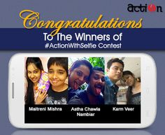 Congratulations to Maitreni Mishra, Astha Chawla Nambiar & Karm Veer. You guys have won yourself exclusive shoes from #Action in our #ActionWithSelfie Contest.   Kindly inbox us your contact info (email address, mailing address, contact number) at the earliest, so that we may contact you.