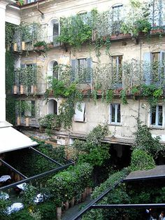 Italian style, just the laundry missing! Courtyard Ideas, Courtyard Gardens, Architecture Courtyard, Small Courtyards, Italy Tours, Old Windows, Balconies, Italian Style, Italy Travel