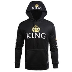Fenghuo Couple Matching Kangaroo Pocket King Queen Hoodie Sweatershirt K_Black L >>> Check out the image by visiting the link.