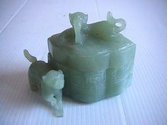 Antique Rare Kangxi Emperor period Carved Jade Trinket Box with Foo Dog(1654 -1722) available now. Check it out at www.platinum-333.ecrater.com.au with other great items.