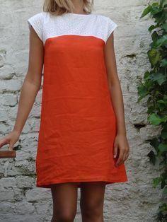 """Robe de débutante orange. patron dans """" mes carnets de couture"""" basique d'été"""