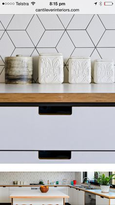 - Cut-out handles for drawers in kitchen.  - Plywood edge for kitchen bench, laundry bench and desks in kids bedrooms.