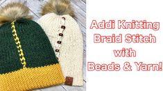 Addi Knitting Machine: How to add beads and yarn to the braid stitch. – Awesome Knitting Ideas and Newest Knitting Models Addi Knitting Machine, Circular Knitting Machine, Knitting Machine Patterns, Loom Knitting, Hat Patterns, Knitting Ideas, Crochet Hooks, Knit Crochet, Circular Loom