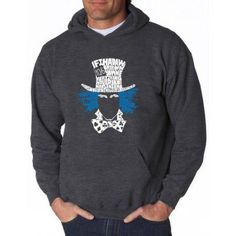 Los Angeles Pop Art Men's Hooded Sweatshirt - The Mad Hatter, Size: Medium, Gray