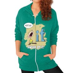 "WordPlay ""Swear by It"" Zip Hoodie (on woman) designed by Neal Fox & Ron Kule"