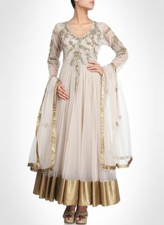 Off White Ankle Length Anarkali Suit
