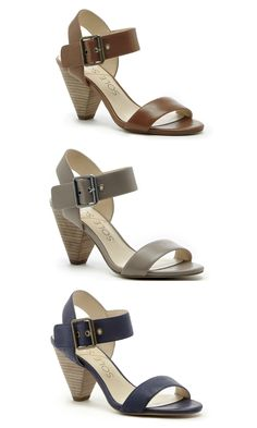 Leather mid heel city sandals with comfortable triangle-shaped heels and metal hardware