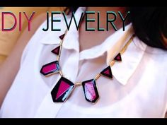 DIY: Painted Geometric Jewelry (Re-Use Old Jewelry). DIY: Painted Geometric Jewelry (Re-Use Old Jewelry). A DIY video to celebrate the spirit of reusing what you have! Take your old jewelry pieces that you own and add a splash of color with this fun and Diy Jewelry Videos, Diy Jewelry Tutorials, Old Jewelry, Jewellery, Geometric Jewelry, Diy Necklace, Diy Painting, Color Splash, Crafts