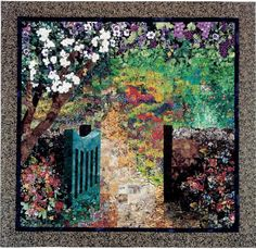Through the Garden Gate Impressionistic Art Quilt by Lenore Crawford. Learn to…