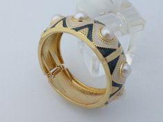 Clamper Bracelet gold tone enamel faux pearls AM63 by MeyankeeGliterz on Etsy