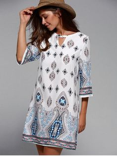 SHARE & Get it FREE | Round Neck 3/4 Sleeve Tribal Print DressFor Fashion…