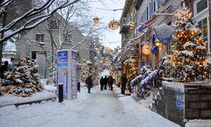 Le Quartier Petit Champlain sous la neige
