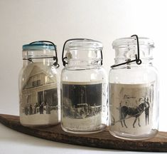 """Grandma's mason jars take on a new purpose when used to """"frame"""" old family photos. (As always, use copies instead of originals!)"""