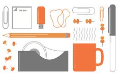 BCV Collateral on Behance design illustration icons office supplies orange grey fun vector www.kellimarie.me
