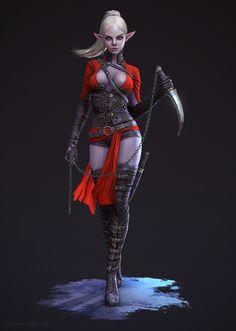 Dark Elf Assassin by Adam-Fisher on deviantART Chica Fantasy, Fantasy Women, Dark Fantasy Art, Fantasy Girl, Character Design Challenge, Female Character Design, Character Modeling, Character Art, Zbrush Character