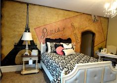 Artistic Murals: Paris Themed room