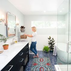 "We love this Slate Blue 8"" Hex floor in this beautiful bathroom that belongs to @jenpinkston  #recycled #handmade #tiles"