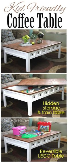 Remove the top of this beautiful apothecary style coffee table to reveal a secret compartment for trains or storage.  The reversible top also doubles as a LEGO table.