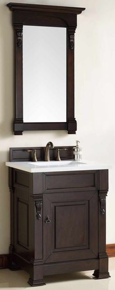 "James Martin Furniture - Brookfield 26"" Burnished Mahogany Single Vanity with 3 CM Snow White Quartz Top - 147-114-V26-BNM-3SNW"
