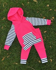 Baby Girl Hot Pink/Black and White Striped by KiKiiGlitterandGlam