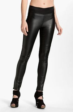 Haha if you wanna be catwoman for halloween! Paige Black Label 'Paloma' Leather Panel Leggings available at #Nordstrom