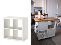 Blogger Jen Lou Meredith made a kitchen island using a four-cube Kallax unit ($34.99). All it took was wheels, a few doors, a towel rack, and a cutting board surface. Eat your heart out, Joanna Gaines.
