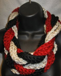 Braided Infinity Scarf  Red Black White by TheLittleBarntique
