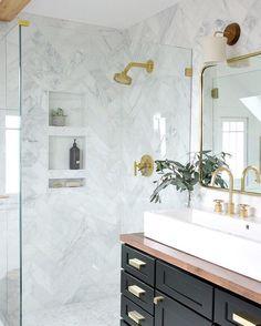 Unique bathroom design ideas | Marble shower tile | Console sink bathroom