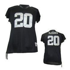 oakland raiders 20 darren mcfadden name number womens nfl t shirt black 6c6a4a487