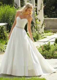 New Wedding Dress Bridal Gown Strapless Satin Dress Stock size 6-8-10-12-14-16
