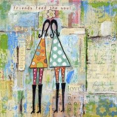 Friends feed the soul - Print on wood plaque