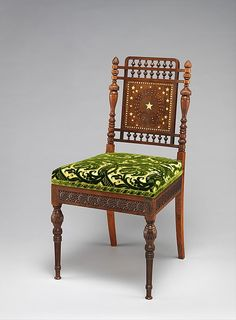 American Gilded Age era, Side Chair. Created in c.1879, by Herter Brothers, New York, (active: 1864-1906). Crafted with, rosewood, brass, inlay-mother-of-pearl, reproduced upholstery. ~ {cwl} ~ (Image: The MET museum)