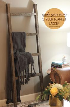 Add a dose of shabby chicness to your home with this stylish storage solution. You can rest a DIY blanket ladder against the wall and use it to drape blankets for a decorative way to store your winter must-haves.