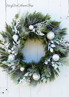 Winter wonderland, Silver and White Winter Christmas Wreath for Front Door, Evergreen Winter Wreath, Silver and White Christmas Decor, Silver and White Wreath Christmas Wreaths For Front Door, Christmas Swags, Silver Christmas, Holiday Wreaths, Christmas Decorations Australian, Handmade Christmas Decorations, Xmas Decorations, White Wreath, Bunting