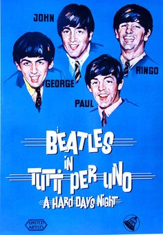 The Beatles Poster 27x40 A Hard Days Night Italian Rare Out Of Print Oop