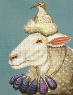 Melissa Shirley Designs | Hand Painted Needlepoint | Shore Sheep, Vicki Sawyer design