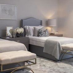 House of Turquoise: Heather Scott Home & Design relaxing bedroom, pinks and blues Grey Bedroom With Pop Of Color, Small Room Bedroom, Bedroom Inspirations, Master Bedroom Design, Bedroom Design, Gray Master Bedroom, Bed Interior, Bedroom Decor, Bedroom Color Schemes