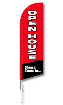 "7ft Red Real Estate Open House Feather Flag Kit (Carrying Bag w/ Flag, Pole, & Ground Anchor) by Dee Sign. $60.00. Large. Banner. Open House. Feather. Complete Kit. Feather Flag and Pole Kit: Flag is 7 feet tall by 2 feet wide, made of high quality knitted polyester fabric and printed with UV durable inks. Four piece fiberglass pole slides into pocket of flag which fits nicely on the aluminum ground anchor.   Standard kit comes with ground stake and fits nicely into 40"" ..."