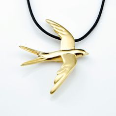 Swallow  Gold Plated Silver Pendant -  Shop OnLine ! #swallow #swallownecklace #birdnecklace #birdjewelry #swallowjewelry