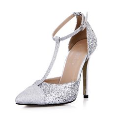 Women's Sparkling Glitter Stiletto Heel Closed Toe Pumps With Buckle (047042683)