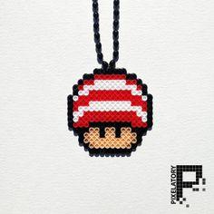 Cat In The Hat Super Mario Mushroom Perler Bead Sprite Necklace