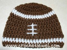 Crochet Football Hat If you tell others about my work, please only link back to my blog, but don't copy my patterns to your site. Also you can sell anything you make from my patterns, but don't sel...